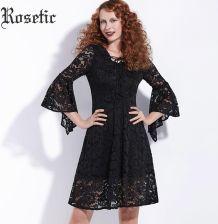 f0921f26f3 AliExpress Rosetic Gothic Black Dress Flare Rękaw Kobiet Jesień Koronki  Hollow Lace-Up Sukienka Moda