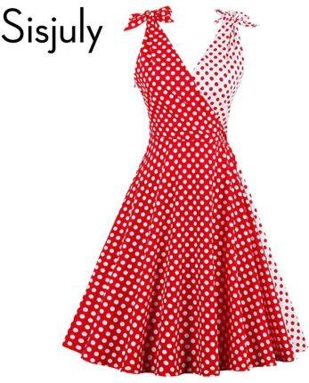 02a2f48900 AliExpress Sisjuly kobiety sukienka w stylu vintage 1950 s czerwone kropki  patchwork sukienki retro śliczne bowknot