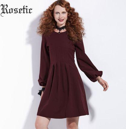 be66b5c219 AliExpress Rosetic Gotycka Sukienka Vintage Burgundii Kobiet Jesień  Latarnia Rękaw Przyczynowych Zamki Draped-Line Suknie