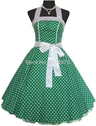 aaad961e33 AliExpress Kobiety Lato 50 s 60 s Swing Vintage Retro Rockabilly Sukienka  Pinup Suknia Balowa Polka