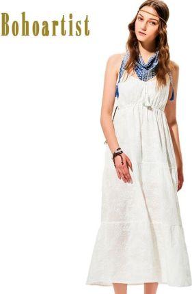 fe5f9ad87e AliExpress Bohoartist lato długa sukienka klasyczny biały pomponem V Neck  Spaghetti Strap rękawów plisowane Backless plaża