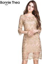 46da55dc8a AliExpress Kobiety duży rozmiar Elegancki haft koronki Sukienki Jesień L-5XL  Plus size Sukienka Duży
