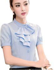 fcb35980ad893e AliExpress Koszula Kobiety Lata Szyfonu Topy Stałe Kolor Biały Bluzki Z  Krótkim Rękawem Wzburzyć Elegancki Kobiecy