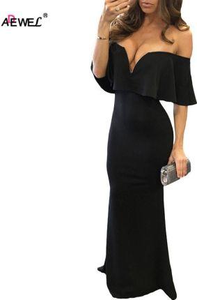 9e6cc20a6c AliExpress ADEWEL Kobiety Formalna Wieczorne Party Wear Długa Sukienka Sexy  Off Ramię Ruffles Rękaw Elegancka Suknia