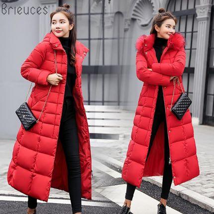 5dbddea600 AliExpress Brieuces płaszcz zimowy kobiety duże futro z kapturem ciepłe  plus size 3XL kurtka zimowa kobiety