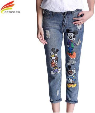 cae49f1850 AliExpress 5XL 2018 Boyfriend Jeans Femme Mody Wysokiej Talii Ołówek Druku  Cartoon Jeans Woman Spodnie Jeansowe