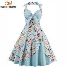 e3b5f95856 AliExpress Kobiety Lato W Stylu Vintage Sukienka S-4XL Plus Rozmiar Suknia  Balowa Floral Print