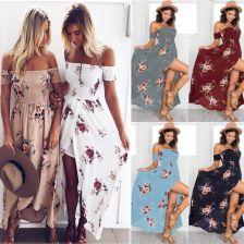 64439ba3a0 AliExpress Lossky 2018 nowy kobiety Sexy Side podział letnia sukienka Off  ramię rocznika druku sukienka w