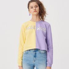 f2727f2966a0c5 Sinsay - Dwukolorowa bluza z napisem - Fioletowy ...