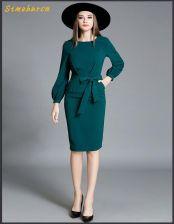 7716f17cb5 AliExpress Europejski styl mody nowy elegancki jesień długi rękaw sukienka  kobiety O-Neck rękawem latarnia