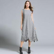 02667c36c0 AliExpress Jesień zima sukienki kobiety Suknie Bez Rękawów Hollow out Długi  Luźny styl wełniana plus rozmiary