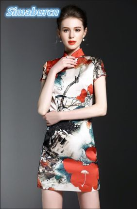 4799511181 AliExpress Najwyższej Jakości Sukienka Kobiety Marka Krótki Rękaw Casual  Urząd Lady Temperament Linii Stań Neck Mini