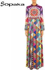 2288e0c8b2 AliExpress Wysoka Jakość 2019 Wiosna Długie Suknie Flare Rękawem  Geometryczne Floral Wydrukowano Mix Kolorów Archiwalne Runway