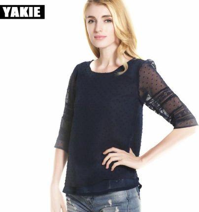 796ba78f91 AliExpress Plus Size kobiety bluzki 2017 lato trzy czwarte szyfonowa bluzka  koszula koreański Casual Loose eleganckie