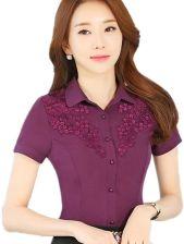 080f6a4fbcb65e AliExpress Koszule damskie 2016 Lato Lady Biuro Topy Krótki Rękaw Turn-dół  Collar Floral Print