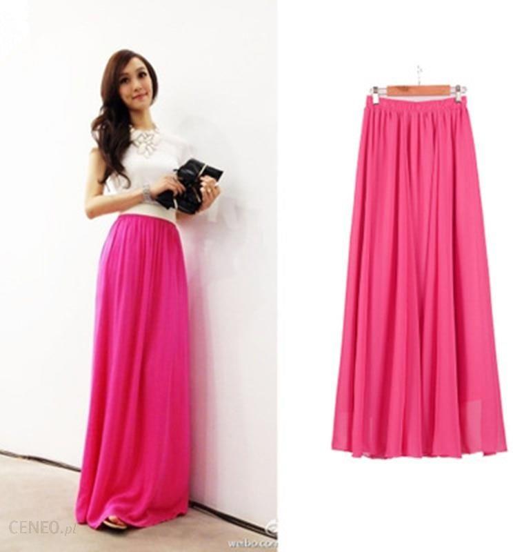 Kobiety długa spódnica szyfonowa cukierki kolor plisowane