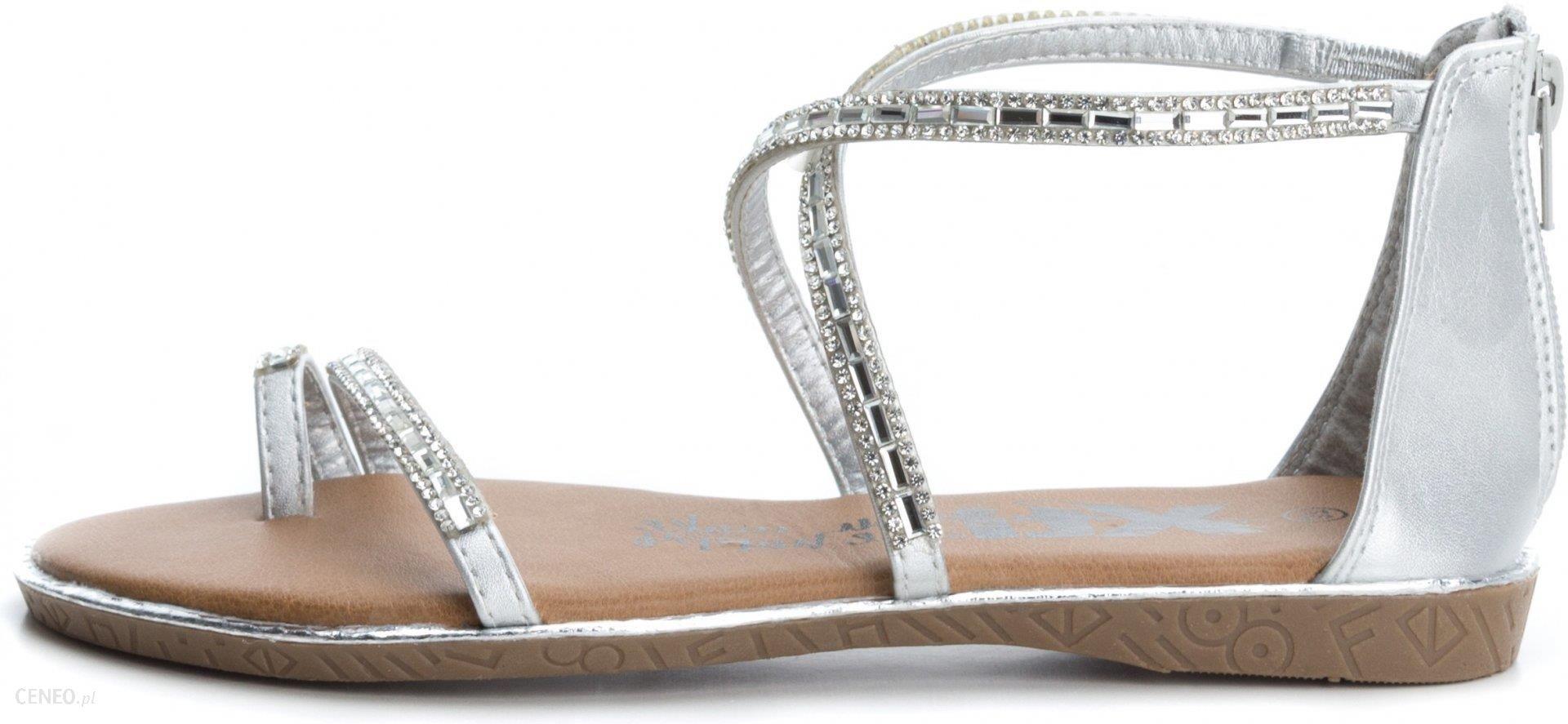 Xti sandały damskie na koturnie szary 35
