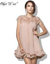 349a751430 AliExpress Kobiety marka projekt Vestidos elegancki Party dorywczo rocznika  moreli krótki rękaw koronki plisowana potargane szyfonowa