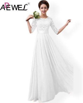 7cbbb67501 AliExpress ADEWEL Elegancka Szyfonowa Połowa Rękawem Biały Koronka Party  Długa Sukienka Kobiety Suknie Wieczorowe Wedding Party