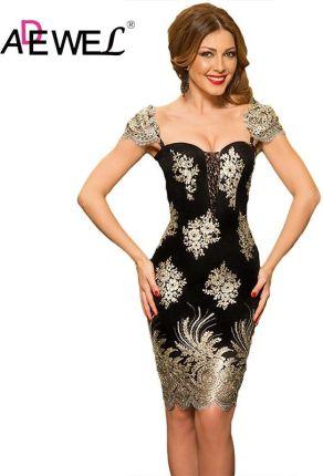 7cb46a5869 AliExpress ADEWEL Sexy luksusowe złoty kwiat haftowane Bodycon koronki  sukienka na imprezę kobiety elegancki bez rękawów