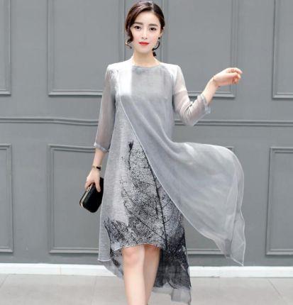 502be8fb51 AliExpress Kobiety Ubierają Szary Kolor O Neck Plus Rozmiar Kobiety Odzież  4XL Rocznika Sukienka Z Długimi