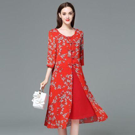 cefdecb8df AliExpress Kobiety lato nowy druku Szyfonu czerwony duży rozmiar sukni  Vestidos 5xl Plus Size Chiński Styl