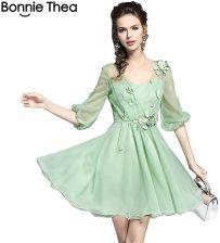 88fb223ff2 AliExpress Zielony siatki kobiety lato Słodka księżniczka sukienka 2018  elegancki Jednolity Suknia Balowa mini sukienka kobiet