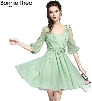 21dbfe1230 AliExpress Zielony siatki kobiety lato Słodka księżniczka sukienka 2018  elegancki Jednolity Suknia Balowa mini sukienka kobiet