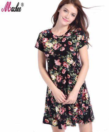 ba7d471a68 AliExpress 2018 Top Sprzedaży Sukienka Kobieta Lato Elegancki Kwiatowy  Drukowane W Stylu Vintage Krótki Rękaw O