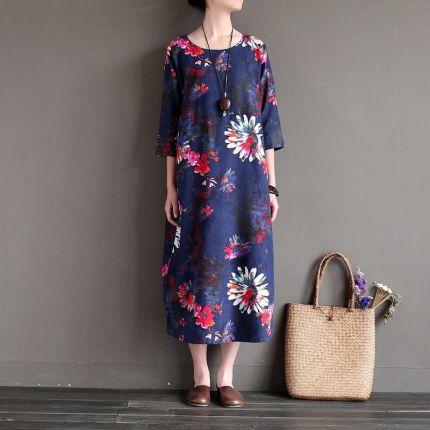 665c0c11c4 AliExpress Nowe Mody Miękka Pościel Bawełniana Długi Kobiety Letnia  Sukienka Na Co Dzień Drukowane kwiatowe Sukienki