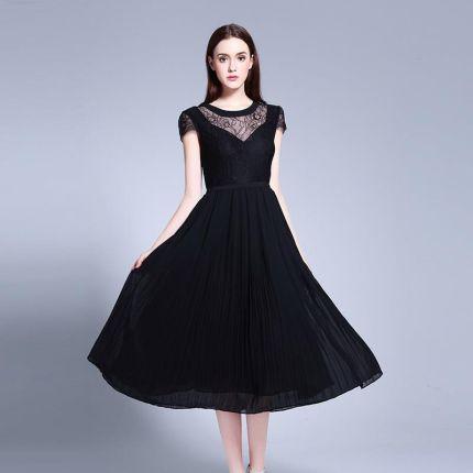 6ee02dee6b AliExpress Lato kobiety elegancki duży rozmiar koronki szyfonu suknia moda  Patchwork tłuszczu mm krótkim rękawem czarny