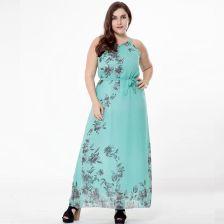 cc28fdd058 AliExpress Kobiety lato czeski druku szyfonu duży rozmiar sukni lady bez  rękawów Plus size sukienka tłuszczu