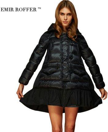 e3f2975eacd19 AliExpress EMIR ROFFER Moda Luźne Linii Spódnica Z Kapturem Cloaks Płaszcz  Kobiet Zimowych kobiet Dół Kurtka