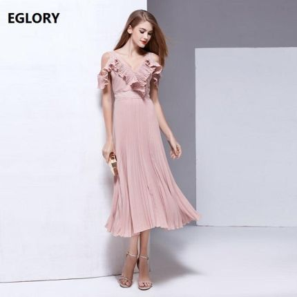 146d003133 AliExpress New High Fashion Party Panie Sexy Backless Wieczór 2017 Lato  Kobiety Dekolt Ruffles Floral Design
