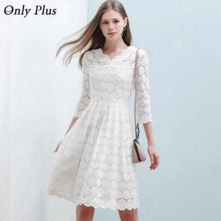 a8feb1ff05 AliExpress TYLKO PLUS Szczupła Białe Koronki bawełniana sukienka Hollow Out  Draped Okrążenie Kobiet Strój Na Co