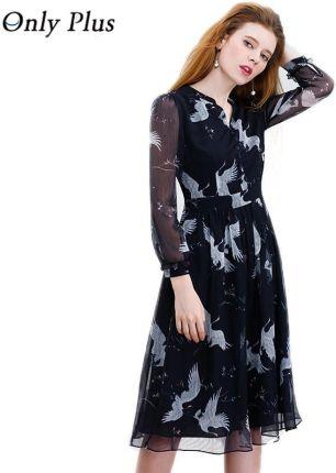 c326d55d5c AliExpress JEDYNY PLUS S-XXL Czarna Szyfonowa Sukienka Druku Swan  Przejrzyste Tkaniny V-Neck