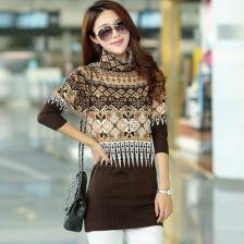 a0e0346a6f AliExpress 2016 Nowy jesień zima kobiety ciepłe luźne długie sweter sukienka  sweter z golfem druku bluzy
