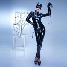 e6166fb51c43e9 AliExpress Sexy Skórzane Catwoman Kombinezon Zentai Kolorze Ciała PCV  Trykot Lateks Catsuit Krocza Teddy Nocny Maska