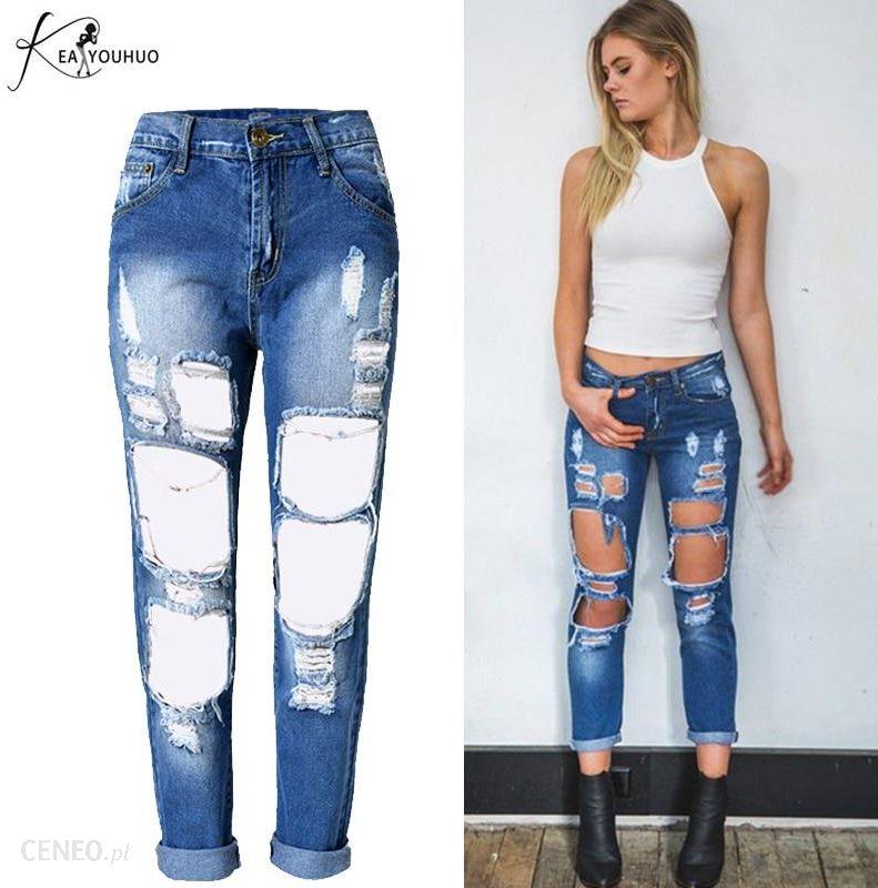 Vetevidi Dorywczo jeansy boyfriend jeans ripped sexy