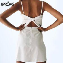 d21c5d7e2198bb AliExpress Aproms powrót Tie Up Bow letnia sukienka kobiet suknie eleganckie  lniana sukienka Slim Fit Bodycon