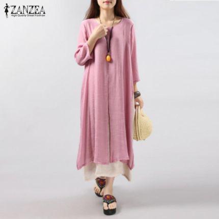 3132e94ebc AliExpress 6 Kolory ZANZEA Plus Size 2018 Kobiety Vintage Sukienka dorywczo  Luźne 3 4 Długim