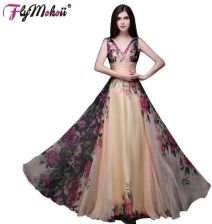 9aaf2911ea47e7 AliExpress 2018 Lato W Stylu Vintage Floral Dress 2017 Wysokiej Talii  Dekolt Długa Sukienka robe longue