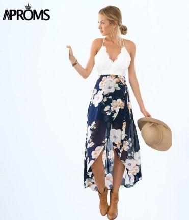 bfd33a61d1 AliExpress Aproms kobiety letnie sukienki Sexy V-Neck biała koronka  patchwork Floral sukienka na imprezę