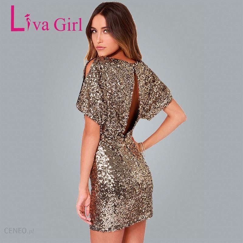 AliExpress Liva dziewczyna złote cekiny latarnia krótki rękaw elegancka sukienka na imprezę 2019 lato kobiety Mini suknia Hollow Out Plus Size krótkie