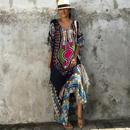4fd58e26cb AliExpress Afrykański Kaftan Czarny Tunika Sukienka Letnie Sukienki dla  kobiet Dashiki Etniczne Tradycyjne Afryki Odzież Długa