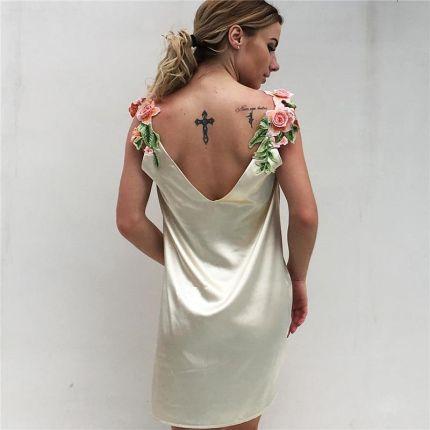 f485731926 AliExpress Sexy Mini Beach Dress kobiety lato sukienka 2019 nowy haft kwiat  zbiornika sukienka jedwabiu jednolity
