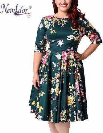 59cc8e6563 AliExpress Nemidor kobiet 1950 s rocznika pół rękaw Plus Size 8XL 9XL drukuj  linii sukienka Sexy