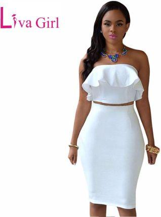 5052b1723a AliExpress LIVA dziewczyna Sexy biały klub Midi sukienka kobiety wiosna Off  ramię dwuczęściowy zestawy Ruffles Crop