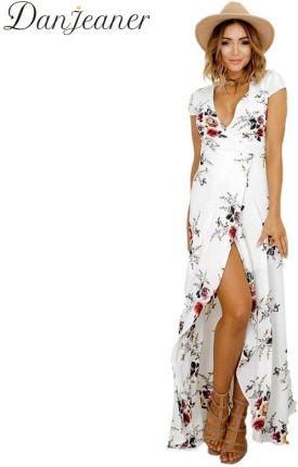 5e79fd6245 AliExpress Danjeaner Nowy Floral Print Szyfonowa Długie Suknie Kobiety  Pasek V-neck Podziel Plaża Letnia