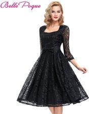 4a291b045f AliExpress Jesień 3 4 rękawem Black Lace kobiety suknie 2018 Retro Vintage  Piknik Beach Dress